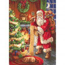 Kit point de croix - Luca-S - Père Noël consultant sa liste