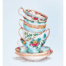 Kit point de croix - Luca-S - Tasses à thé turquoises