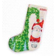 Kit de chaussette de Noël à broder - Luca-S - Le Père Noël sapin
