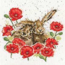 Kit point de croix - Bothy Threads - Lièvres amoureux
