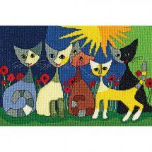 Kit point de croix - Bothy Threads - Cinq chats