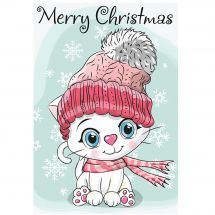 Support carton broderie Diamant - Collection d'Art - Chaton blanc