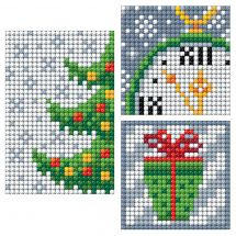 Sticker broderie Diamant - Collection d'Art - Planche 3 autocollants - Sapin de Noël