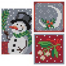 Sticker broderie Diamant - Collection d'Art - Planche 3 autocollants - Bonhomme de neige