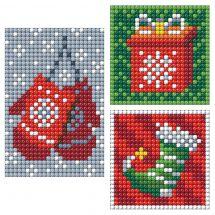 Sticker broderie Diamant - Collection d'Art - Planche 3 autocollants - Accessoires de Noël