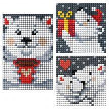 Sticker broderie Diamant - Collection d'Art - Planche 3 autocollants - Ours de Noël