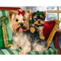 Kit de broderie Diamant - Collection d'Art - Yorkshire terriers