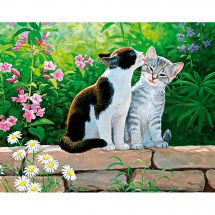 Kit de broderie Diamant - Collection d'Art - Matinée de chats