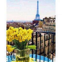 Kit de broderie Diamant - Collection d'Art - Roses jaunes sur Paris