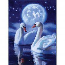 Kit de broderie Diamant - Collection d'Art - Cygnes mystiques