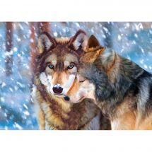 Kit de broderie Diamant - Collection d'Art - Couple de loups