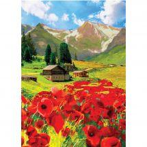 Kit de broderie Diamant - Collection d'Art - Cottage dans les montagnes