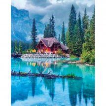 Kit de broderie Diamant - Collection d'Art - Lodge sur le lac