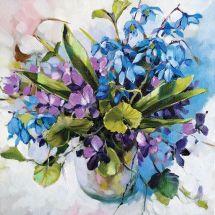 Kit de broderie Diamant - Collection d'Art - Violettes et perce-neiges