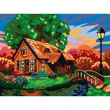 Canevas Pénélope  - Collection d'Art - Le cottage au petit pont