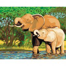Canevas Pénélope  - Collection d'Art - Baignade des éléphants