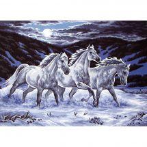 Canevas Pénélope  - Collection d'Art - Chevaux dans la neige