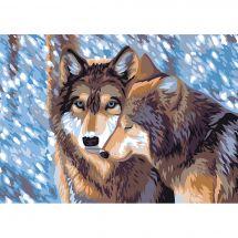 Canevas Pénélope  - Collection d'Art - Couple de loups