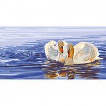 Canevas Pénélope  - Collection d'Art - Couple de cygnes