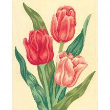 Canevas Pénélope  - Collection d'Art - Tulipes roses