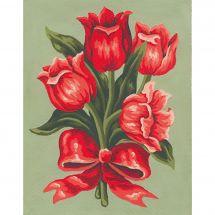 Canevas Pénélope  - Collection d'Art - Bouquet de tulipes rouges