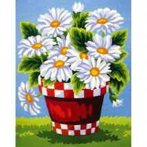 Canevas Pénélope  - Collection d'Art - Marguerites dans un pot