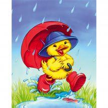 Canevas Pénélope  - Collection d'Art - Caneton sous la pluie