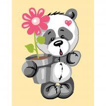 Canevas Pénélope  - Collection d'Art - Panda avec fleur