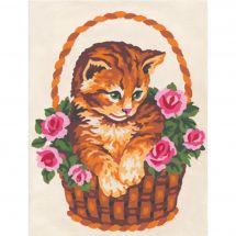 Kit de canevas pour enfant - Collection d'Art - Le panier du chat