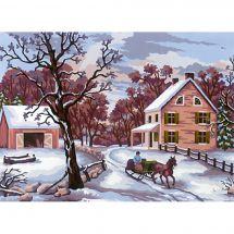 Kit de canevas pour enfant - Collection d'Art - Paysage d'hiver