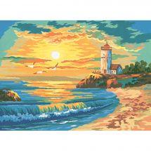 Canevas Pénélope  - Collection d'Art - Coucher de soleil sur la plage