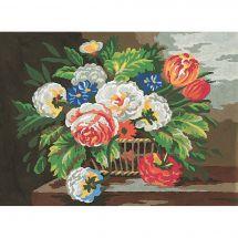 Canevas Pénélope  - Collection d'Art - Panier de fleurs