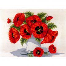 Canevas Pénélope  - Collection d'Art - Bouquet de coquelicots