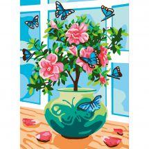 Canevas Pénélope  - Collection d'Art - Roses et papillons