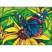 Canevas Pénélope  - Collection d'Art - Papillon bleu sur fleur jaune