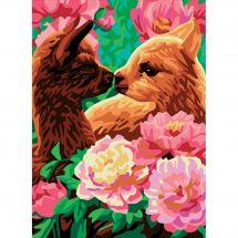 Canevas Pénélope  - Collection d'Art - Bisou dans les fleurs