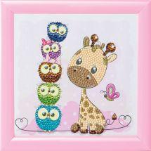 Kit de broderie Diamant sur cadre - Crystal Art D.I.Y - Girafe et ses amis
