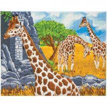 Kit de broderie Diamant sur châssis - Crystal Art D.I.Y - Girafes en pâturage