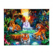 Kit de broderie Diamant sur châssis - Crystal Art D.I.Y - Tigres dans la jungle