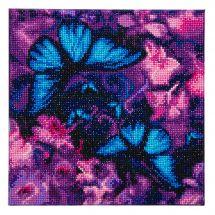 Kit de broderie Diamant sur châssis - Crystal Art D.I.Y - Violettes et papillons bleus