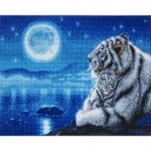Kit de broderie Diamant sur châssis - Crystal Art D.I.Y - Berceuse pour tigres blancs