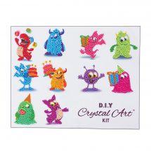 Sticker broderie Diamant - Crystal Art D.I.Y - Set famille de monstres