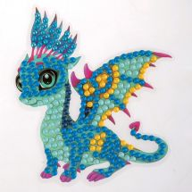 Sticker broderie Diamant - Crystal Art D.I.Y - Autocollant - Dragon amical