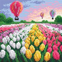 Kit de broderie Diamant - RTO - Champ de tulipes