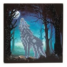Carte broderie Diamant - Crystal Art D.I.Y - Loup hurlant