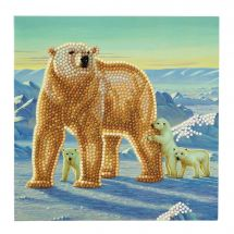 Carte broderie Diamant - Crystal Art D.I.Y - Famille ours polaires