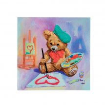 Carte broderie Diamant - Crystal Art D.I.Y - Ourson