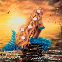 Carte broderie Diamant - Crystal Art D.I.Y - Rêves de sirène
