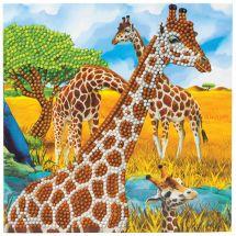 Carte broderie Diamant - Crystal Art D.I.Y - Girafes