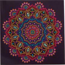Carte broderie Diamant - Crystal Art D.I.Y - Mandala mauve